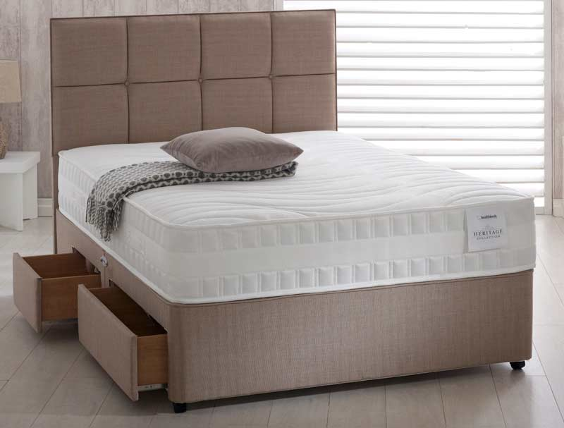 Small single white fabric platform top divan bed base for White single divan