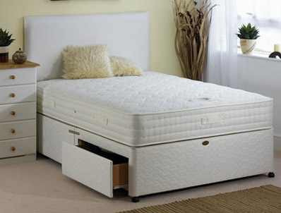 Bamboo 4ft double divan set with 2 drawers memory foam for 4 foot divan beds for sale