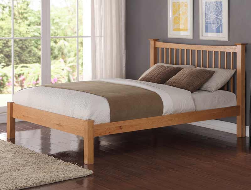 Flintshire furniture aston american oak bed buy online for American furniture bed frames