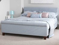 Serene Hazel Upholstered Low end Fabric Sleigh Bed Frame