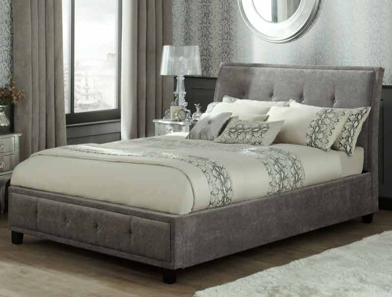 Serene Wesley Steel Colour Fabric Ottoman Bed Frame Buy