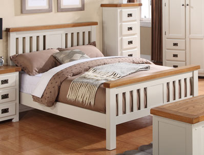 Annaghmore Heritage Stone White & Oak Bed Frame
