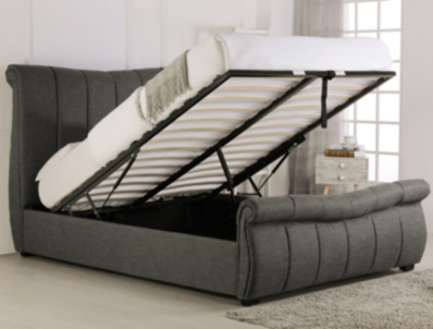 Bestpricebeds Bosley Grey Fabric Ottoman Bed Frame