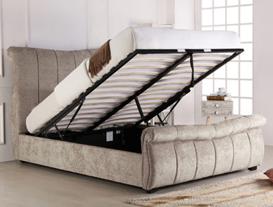 Bestpricebeds Bosley Stone Fabric Ottoman Bed Frame