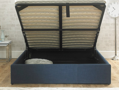 Bestpricebeds Falkirk Chambray Blue Fabric ottoman Bed Frame
