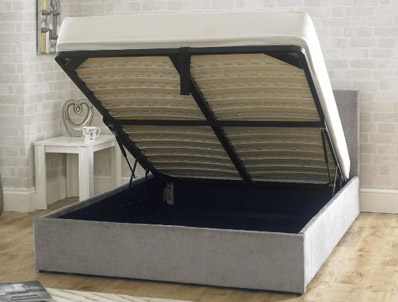 Bestpricebeds Falkirk Stone Fabric ottoman Bed Frame