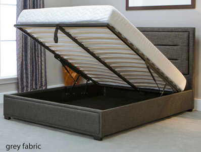 Bestpricebeds Knighton Grey Fabric End open Ottoman Bed Frame
