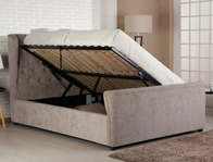 Bestpricebeds Knighton Ottoman Bed Frame Stone Colour