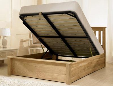 Bestpricebeds Montpellier Solid Oak Ottoman Bed