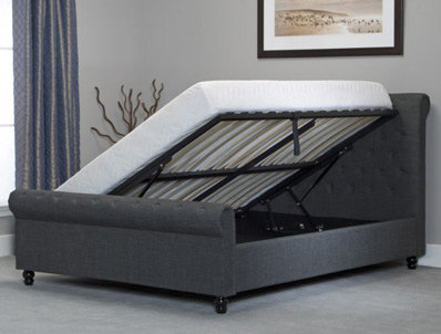 BestpriceBeds Oxted Grey Colour Scroll Ottoman Bed Frame