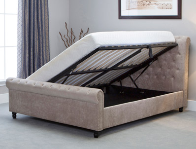 Bestpricebeds Oxted Stone Colour  Scroll Ottoman Bed Frame