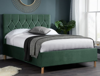 Birlea Loxley Green Fabric Bed Frame