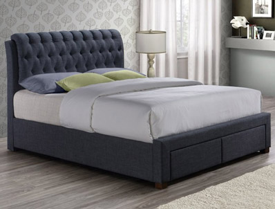 Birlea Valentino Charcoal 2 Drawer Fabric Bed