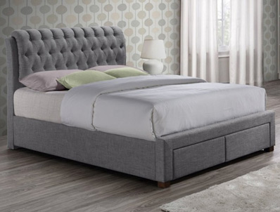 Birlea Valentino Grey 2 Drawer Fabric Bed