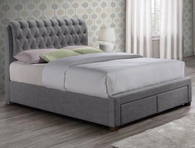 Birlea Valentino Grey 2 Drawer Faric Bed
