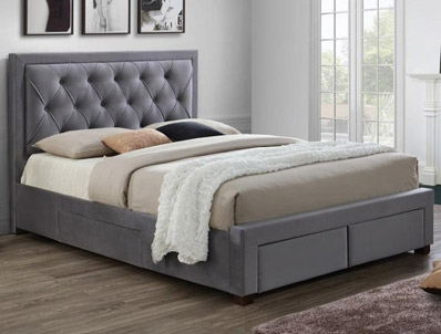 Birlea Woodbury Grey Fabric 4 Drawer Bed Frame