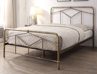 Flintshire Axton Antique Gold Metal Bed Frame