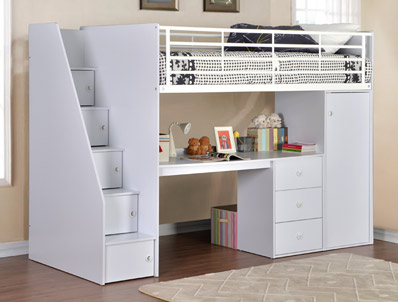 Flintshire Furniture Dakota White Foil Hi Sleeper Bed