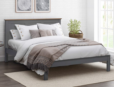 Flintshire Furniture New Conway Painted Grey Oak Bed Frame