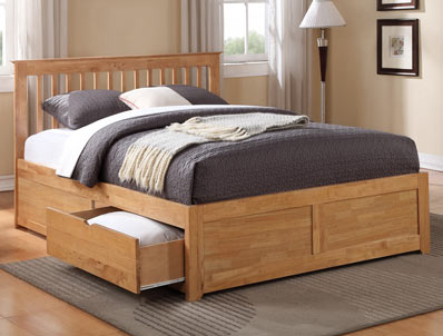 Flintshire Furniture Pentre Oak Finish 2 Drawer Bed Frame