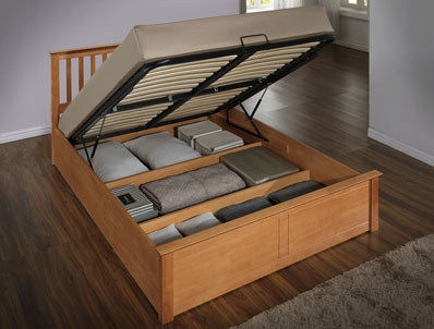 Flintshire Pentre Oak Colour Hardwood Ottoman Bed Frame