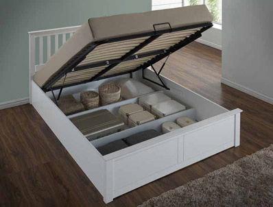 Flintshire Pentre White Finish Ottoman Bed Frame