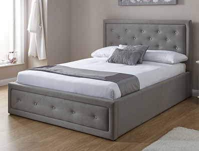 GFW Hollywood Stone Grey Fabric Ottoman Bed Frame