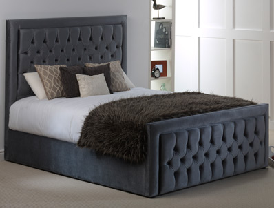 Hestia Violet Fabric ottoman Bed Frame