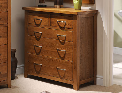 Instyle Country Oak 2 Over 3 Drawer Chest