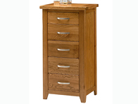 Instyle Country Oak 5 Drawer Narrow chest