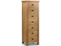Julian Bowen Marlborough American Oak 7 Drawer Tall chest