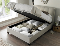 Kaydian Accent Oatmeal Fabric Ottoman Bed Frame