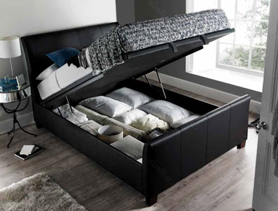 Kaydian Allendale Black or Brown Leather  Ottoman Bed Frame