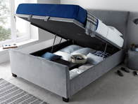 Kaydian Allendale Grey Velvet  Fabric Ottoman Bed Frame Discontinued