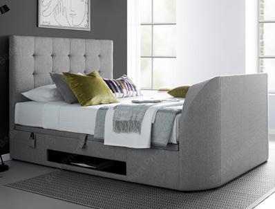 Kaydian Barndor Artemis Light Grey Fabric TV Ottoman Bed Frame