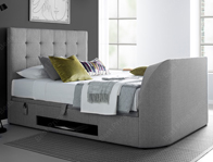 Kaydian Barndor Artemis Light Grey Fabric TV Ottoman Bed Frame