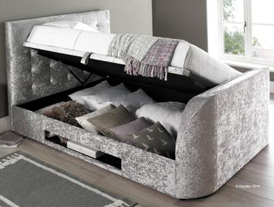 Kaydian Barndor Crushed Silver Fabric TV Ottoman Bed Frame