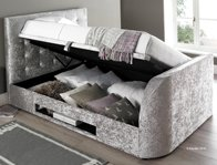 Kaydian Barndor Crushed Silver Fabric TV Ottoman Bed Frame