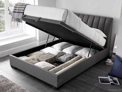 Kaydian Lanchester Grey Linen Ottoman Storage Bed Frame