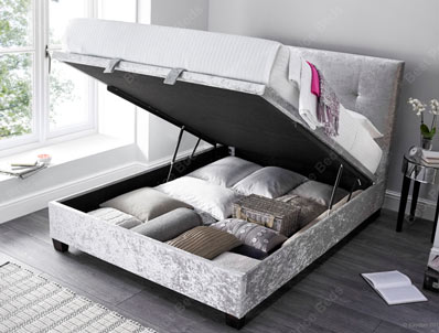 Kaydian walkworth Crushed Silver Fabric Ottoman Bed Frame