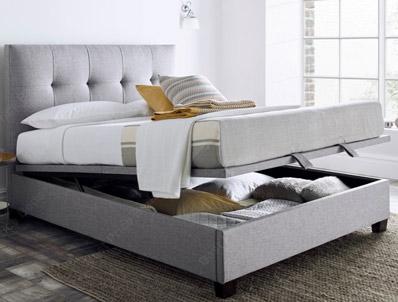 Kaydian Walkworth Marbella Grey Fabric Ottoman Bed Frame