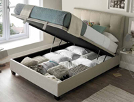 Kaydian Walkworth Oatmeal Fabric Ottoman bed Frame