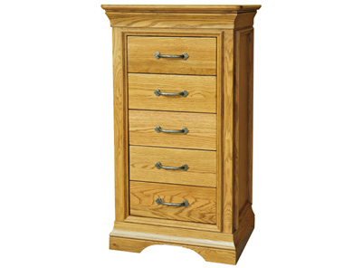 Kensington French Oak 5 Drawer Wellington Chest