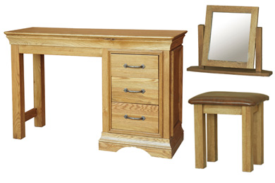 Kensington French Oak Dressing Table with Optional Mirror & Stool