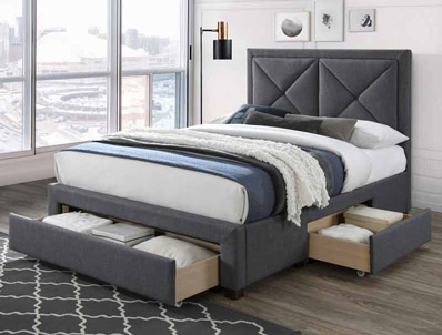Limelight Cezanne Dark Grey Colour Fabric Drawer Bed Frame