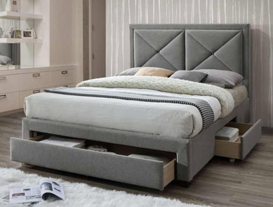 Limelight Cezanne Light Grey Colour Fabric Drawer Bed Frame