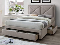 Limelight Cezanne Mink Colour Fabric Drawer Bed Frame