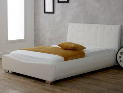 Limelight Dorado White Faux Leather Bed Frame