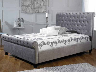 Limelight Orbit Silver Plush Fabric Bed Frame