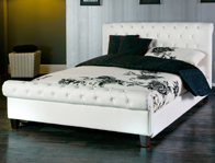 Limelight Phoenix White Faux Leather Bedstead Discontinued